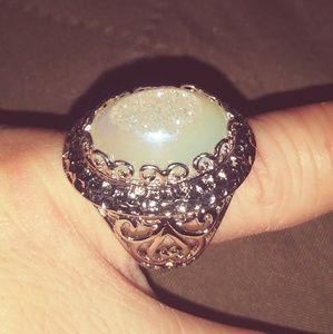 Pearl Shimmer Druzy Quartz Ring